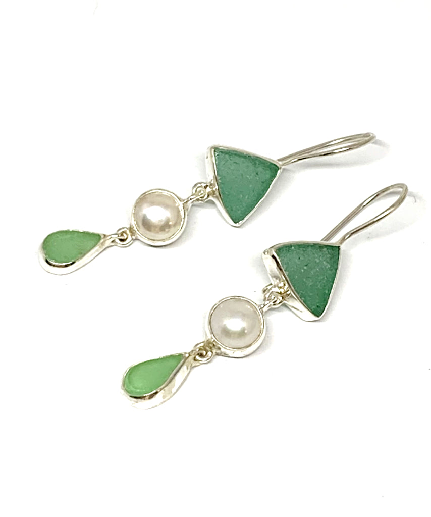 Turquoise Green & Light Green Sea Glass with Pearl Triple Drop Earrings