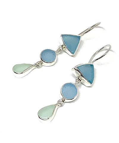 Shades of Aqua Multi Shape Sea Glass Triple Drop Earrings
