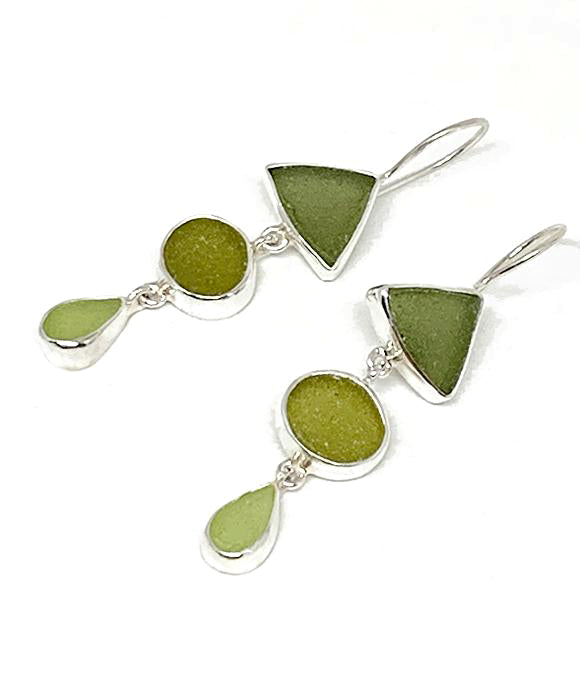 Shades of Olive and Mint Green Multi Shape Sea Glass Triple Drop Earrings