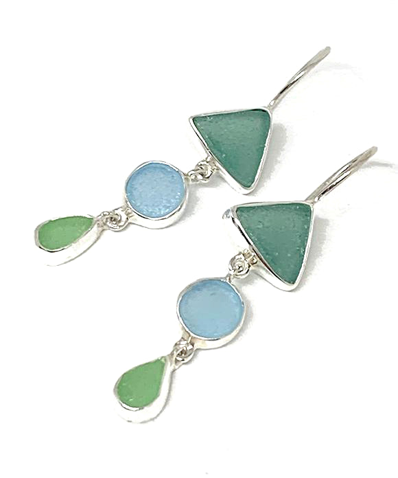 Turquoise, Aqua & Mint Green Multi Shape Sea Glass Triple Drop Earrings