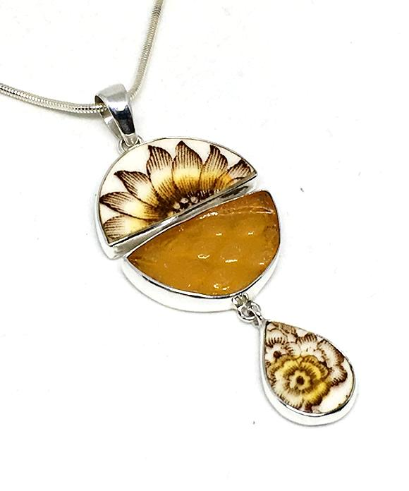 Sunflower Floral Vintage Pottery with Textured Amber Sea Glass Triple Pendant