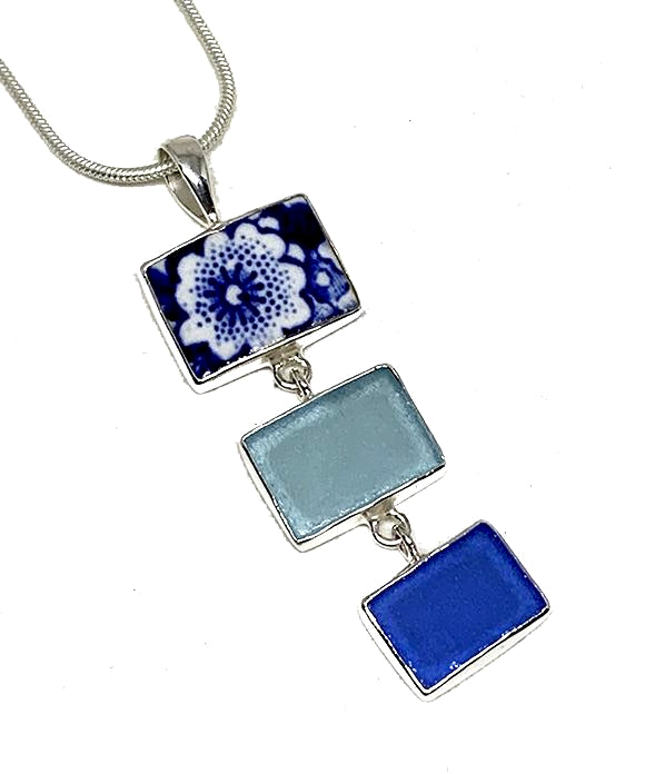 Blue & White Floral Vintage Pottery with Blue &Aqua Sea Glass Triple Pendant