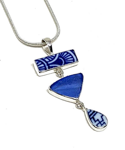 Blue & White Geometric Vintage Pottery with Textured Blue Sea Glass Triple Pendant