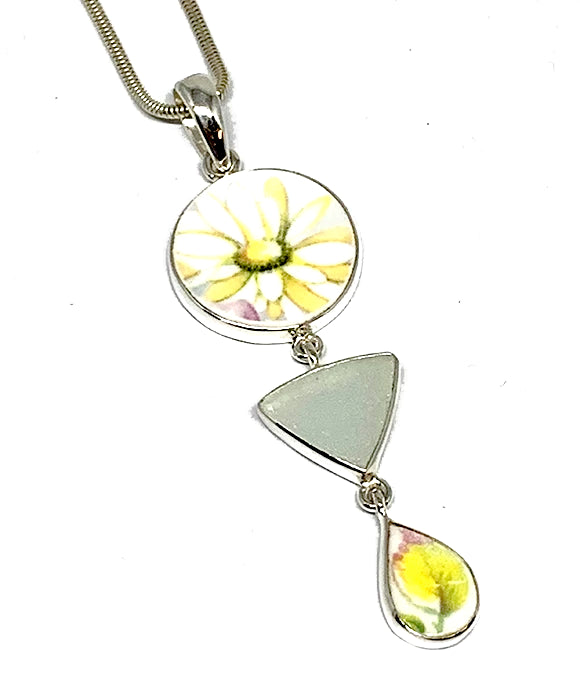 Light Daisy Vintage Pottery with Clear Sea Glass Triple Pendant