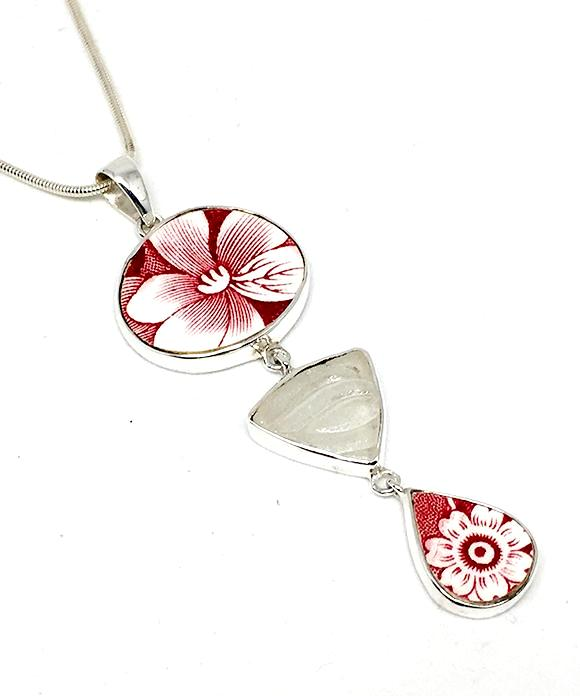 Red & White Vintage Pottery with Textured Clear Sea Glass Triple Pendant