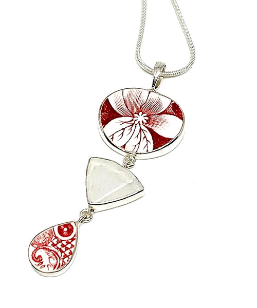 Red & White Floral Vintage Pottery with Textured Clear Sea Glass Triple Pendant