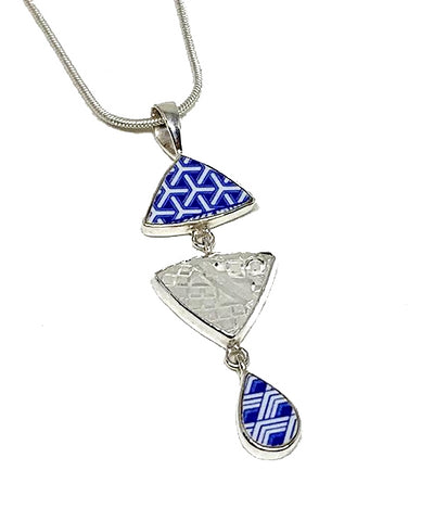 Blue & White Geometric Vintage Pottery with Textured Clear Sea Glass Triple Pendant