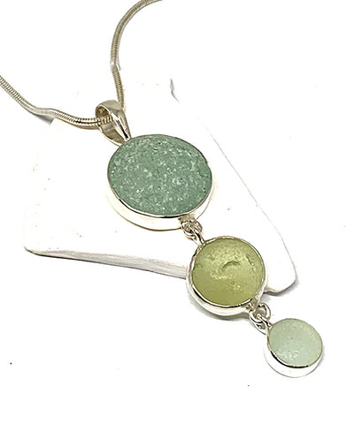 Triple Drop Sea Glass Marble Pendant on Sterling Chain