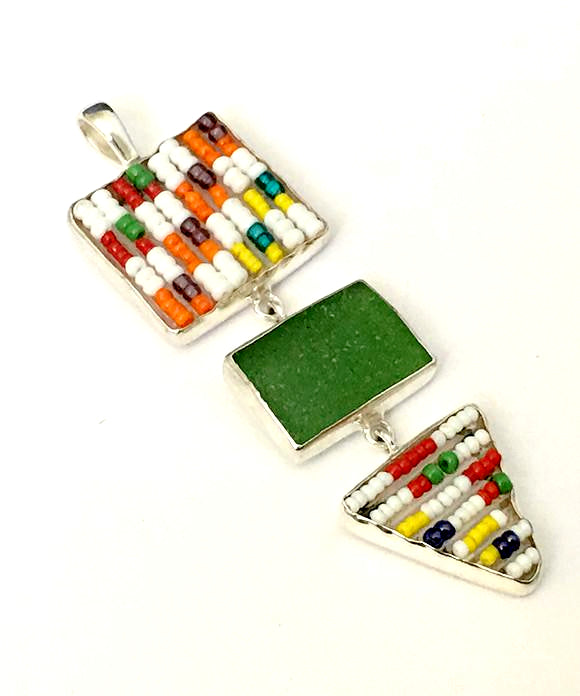Rainbow and White Beaded Fused Glass Triple Drop Pendant with Green Sea Glass