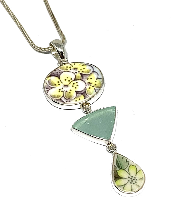 Yellow Floral Vintage Pottery with Aqua Sea Glass Triple Pendant