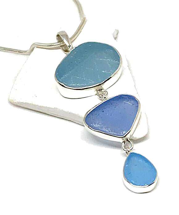 Textured Aqua & Periwinkle Blue Triple Drop Sea Glass Pendant on Sterling Chain