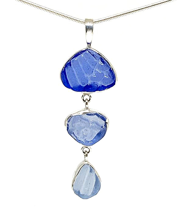 Textured Blue & Light Blue Triple Drop Sea Glass Pendant on Sterling Chain