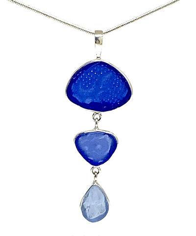 Textured Cobalt, Blue & Light Blue Triple Drop Sea Glass Pendant on Sterling Chain