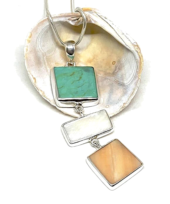 Peach & White Mother of Pearl & Turquoise Colored Stone Triple Drop Pendant on Sterling Chain