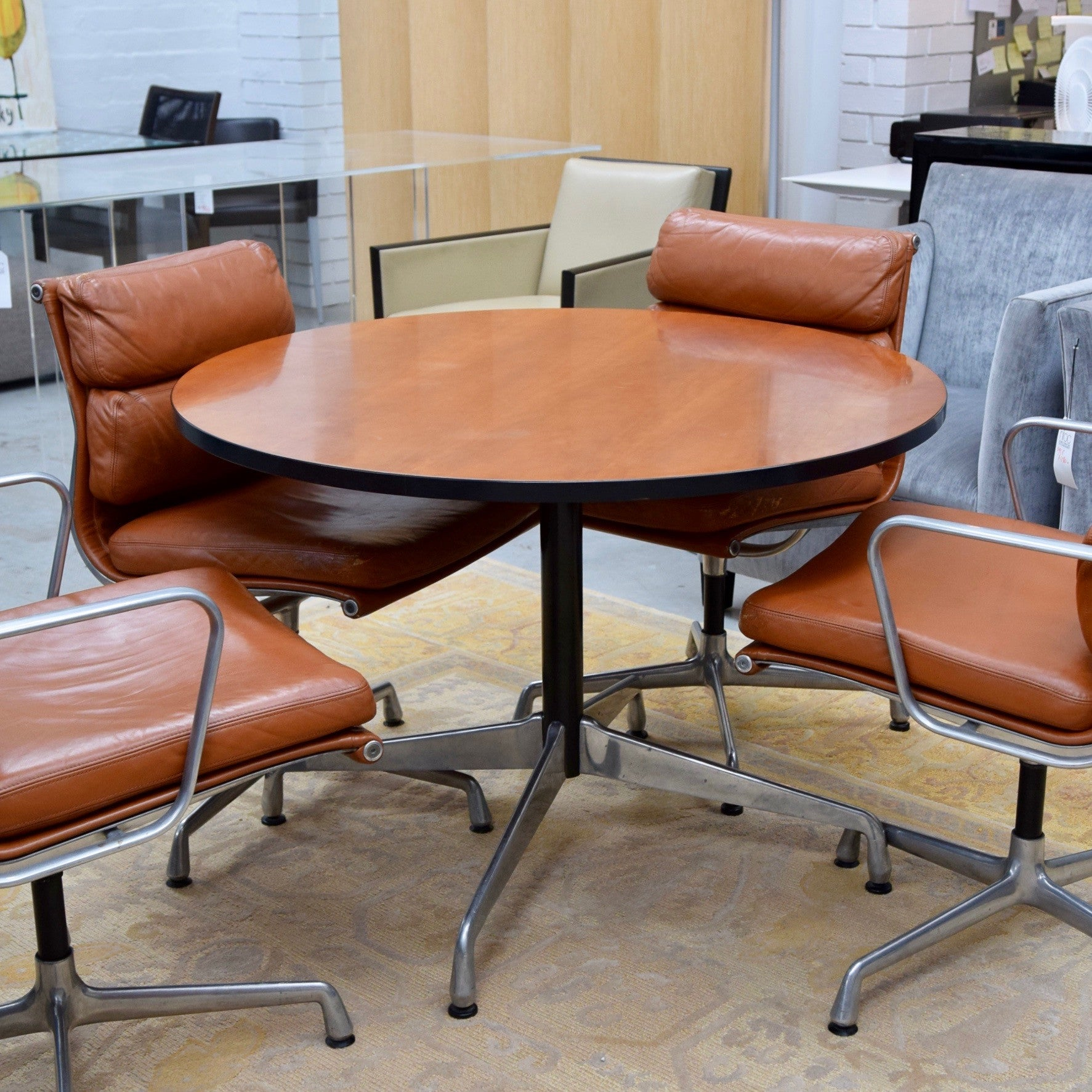 Vintage Eames Meeting Table with Walnut Top by Herman Miller