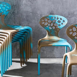 Set of FOUR Supernatural Bicolour Chairs by Ross Lovegrove for Moroso – Turquoise / Caramel