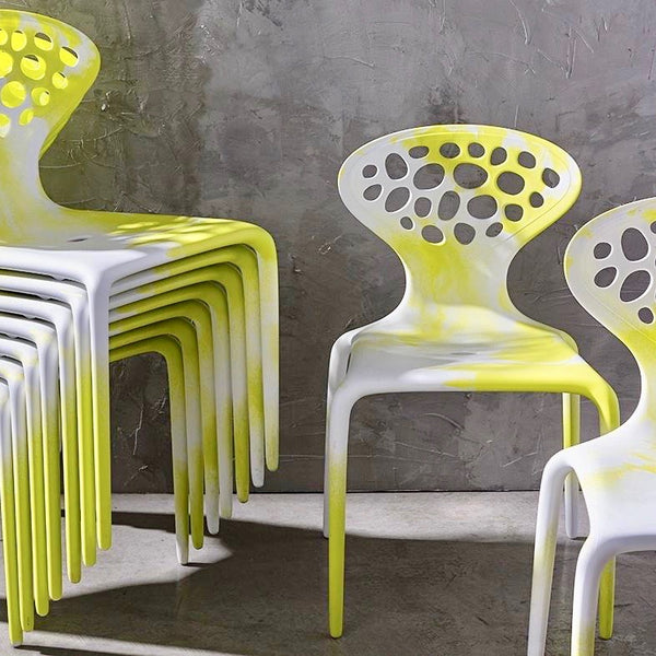 Set of FOUR Supernatural Bicolour Chairs by Ross Lovegrove for Moroso – Green / White