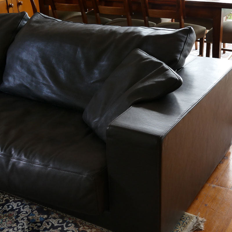 Budapest Sofa Sofa in Chocolate Brown Leather by Paola Navone for Baxter (Two Available)