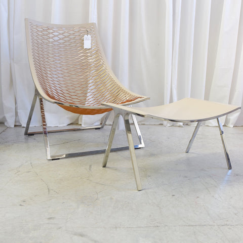Loom High Back Chair with Footstool by Franco Poli for Matteograssi, Italy