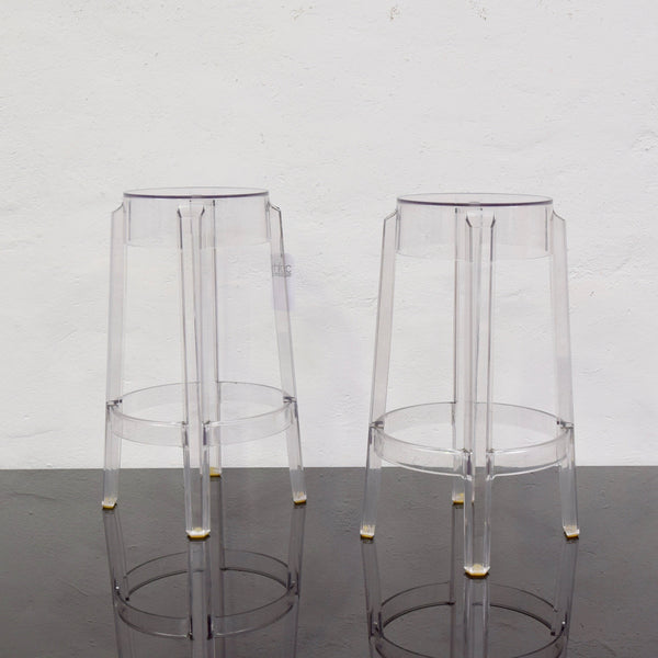 Charles Ghost High Stool - Transparent Crystal by Philippe Starck Kartell (2 Available)