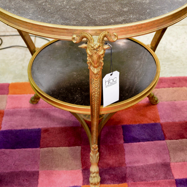 French Bronze & Marble Top Rams Head Louis XVI Style Gueridon Table through Country Trader (2 Available)
