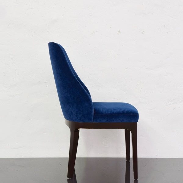 Set of EIGHT Custom Collins Dining Chairs in Blue Velvet