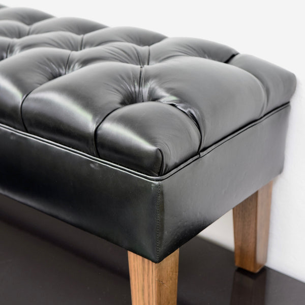 Custom Tommy Leather Tufted Ottoman