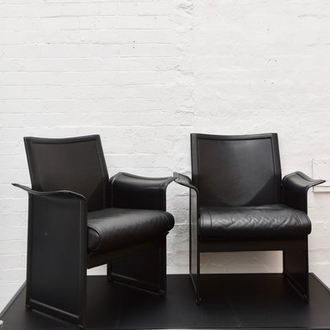 PAIR Vintage Korium Leather Chairs by Tito Agnoli for Matteo Grassi