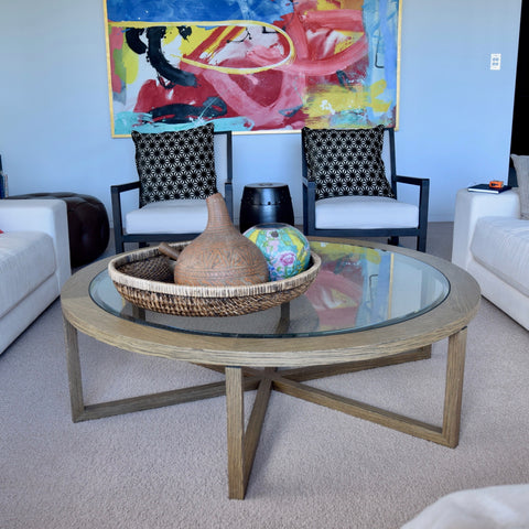 Custom Coffee Table with Sled Base & Clear Glass Top