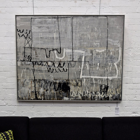 'Grey Lines' Original Oil on Linen Artwork by Terri Brooks 2002