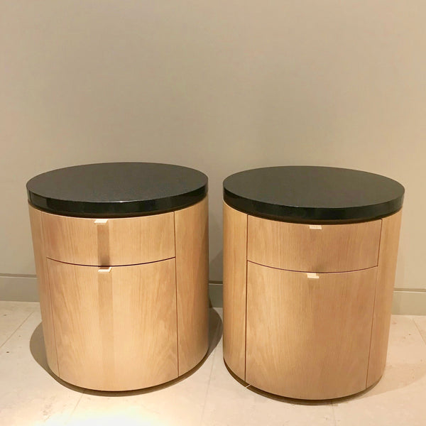PAIR Round Bedside Tables with Granite Top