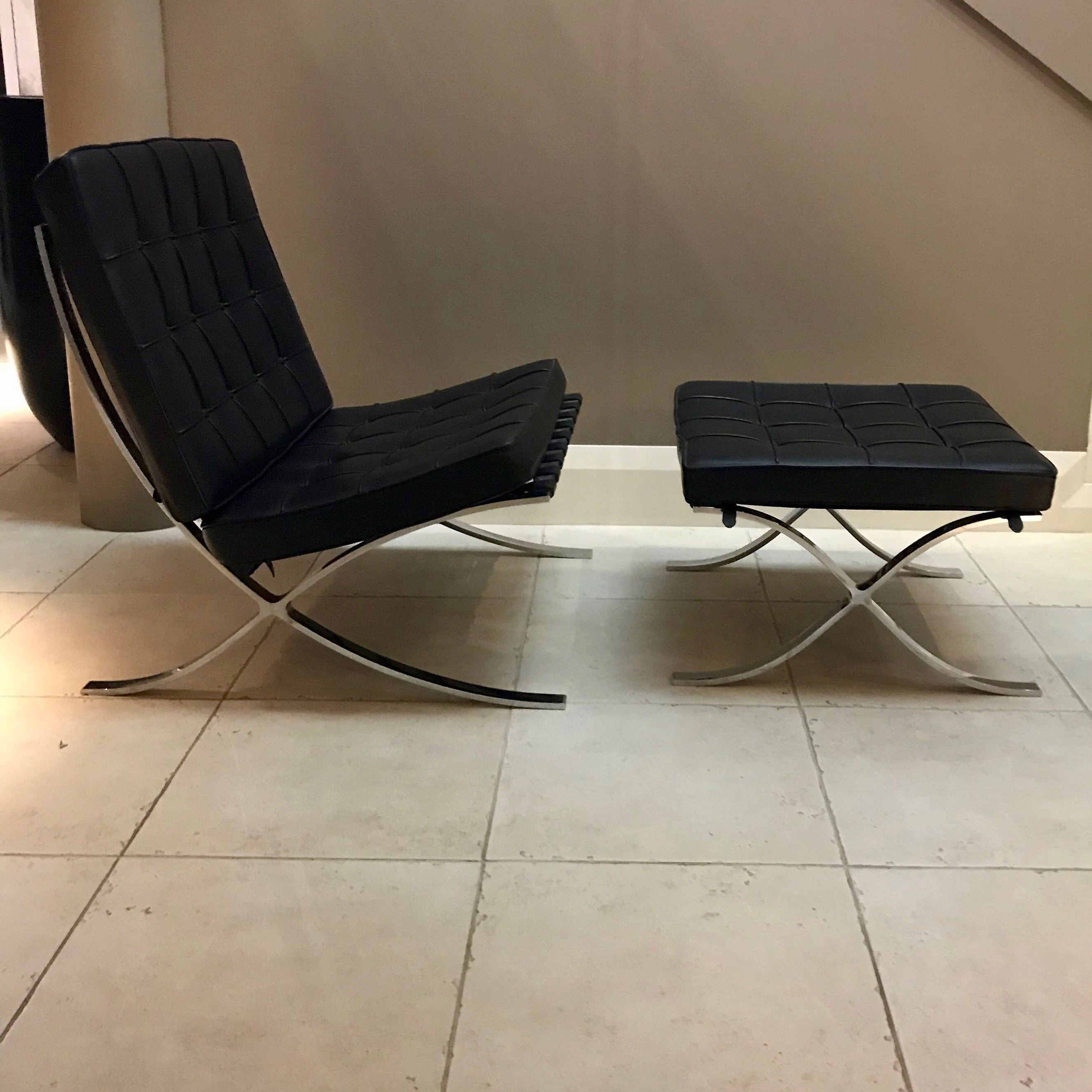 Barcelona Chair with Footstool by Ludwig Mies van der Rohe for Knoll