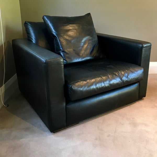 Black Leather Armchair by Jardan