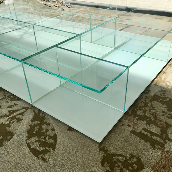 Low Glass Coffee Table through Space