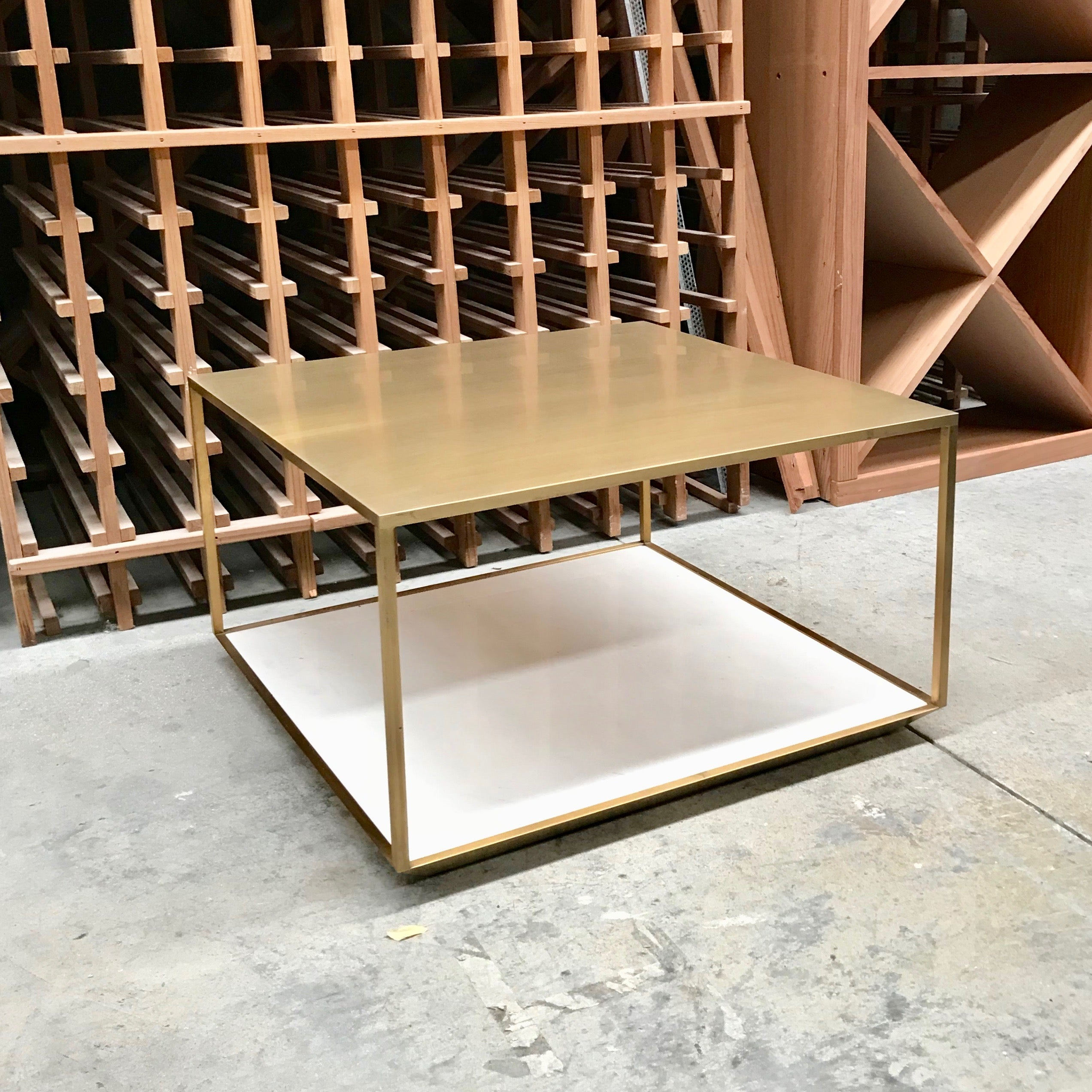 Brass Coffee Table with Marble Shelf