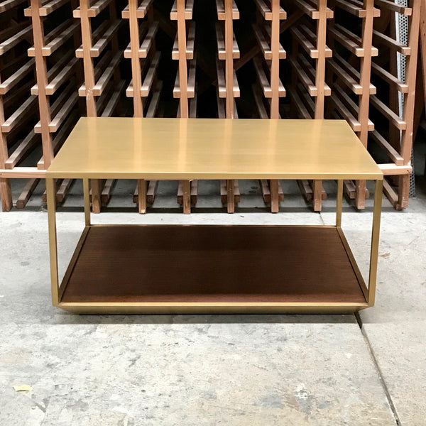 Brass Side Table with Timber Shelf