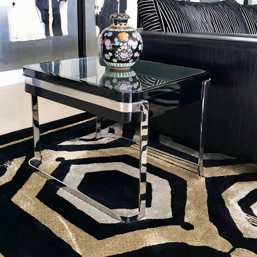 Custom Side Table With Black Lacquer 2 Available Home