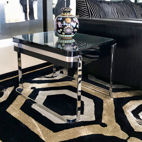Custom Side Table with Black Lacquer (2 available)