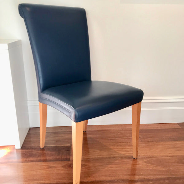 Set of FOUR Leather Dining Chairs by Poltrona Frau with Slip Covers (3 Sets Available)