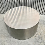 Brushed Stainless Steel Drum Table