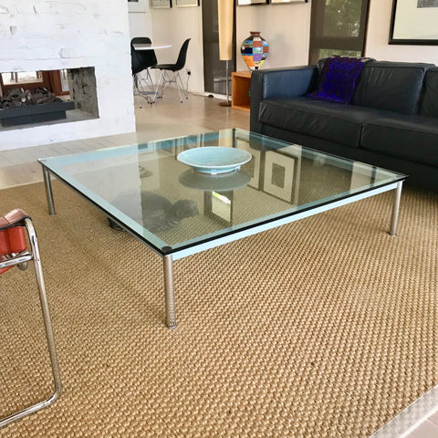 LC10-P Glass Topped Coffee Table by Le Corbusier for Cassina