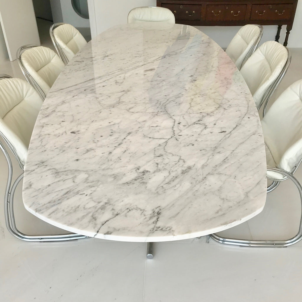 Vintage Chrome Base Dining Table With Stone Top Home Furniture On Consignment