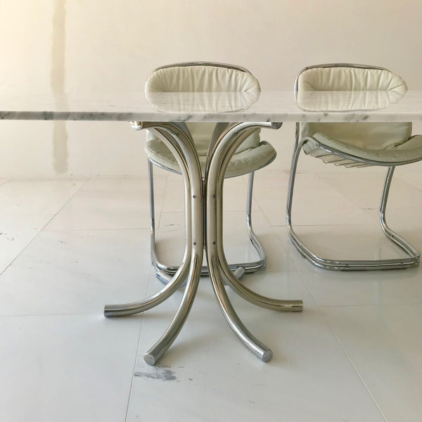 Vintage Chrome Base Dining Table with Stone Top
