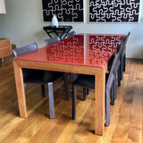 Custom Dining Table with Coloured Glass Top