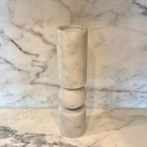Fulcrum Candlestick Small White Marble by Lee Broom