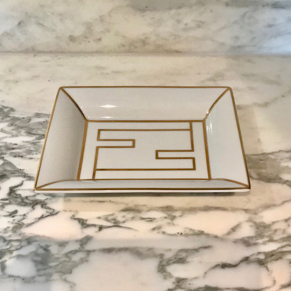 Porcelain FF Logo Key Tray by Fendi Casa