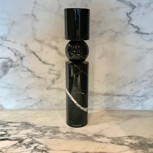 Fulcrum Candlestick Large Black Marble by Lee Broom