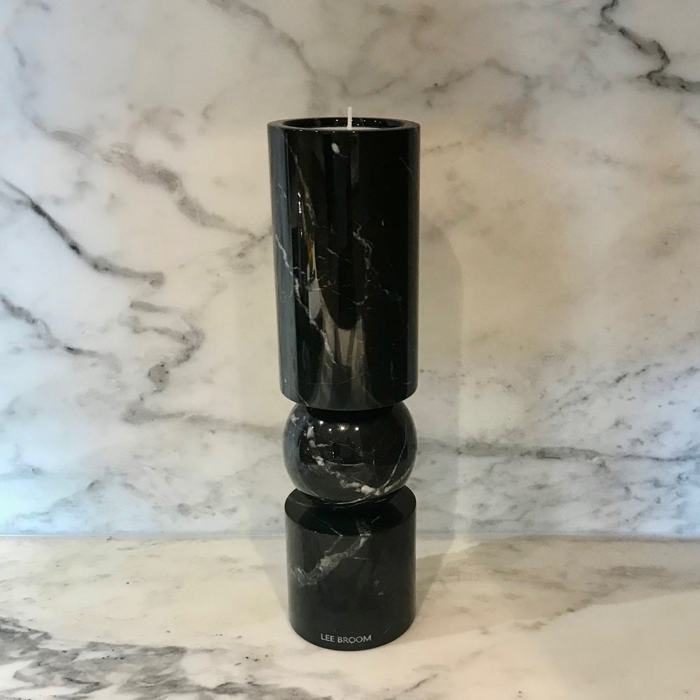 Fulcrum Candlestick Small Black Marble by Lee Broom