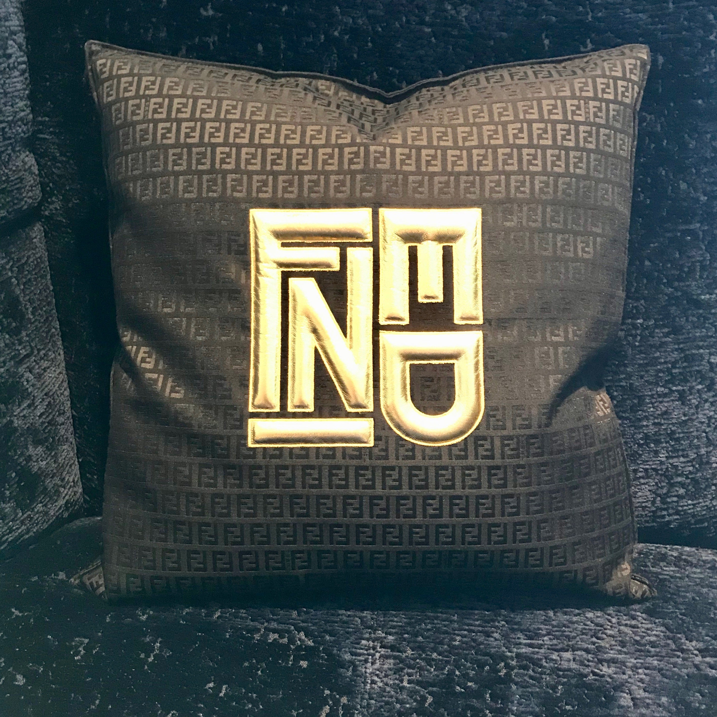 Velvet Silk Pattern Gold Logo Throw Pillow by Fendi Casa (2 available)