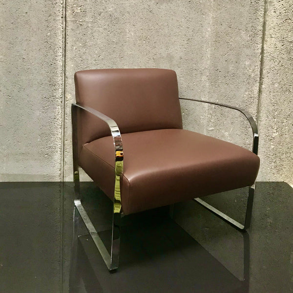 Brown Leather Armchair with Metal Frame (2 available)